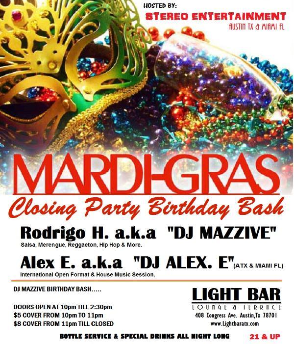 Austin, TX Mardi Gras Bar Poster