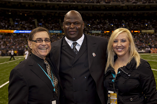 Blaine Kern, Rickey Jackson, Holly Kern on Superdome Floor