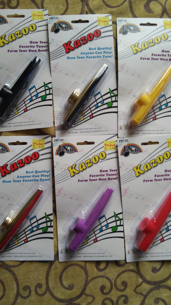 Kazoos purchased from Le Jouet for Kazoozie Floozies KdV 2016 March