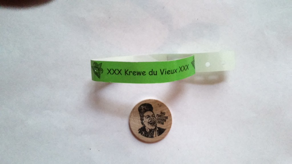 2016 KdV wristband and wooden doubloon featuring Queen Big Freedia!