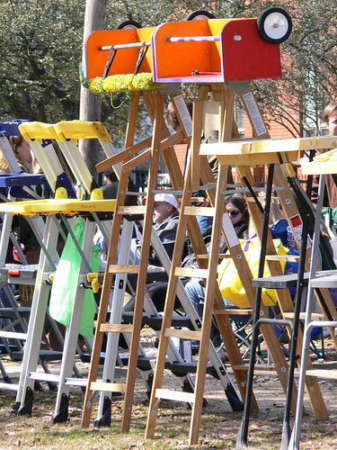Wall of Ladders on Parade Route for Mardi Gras