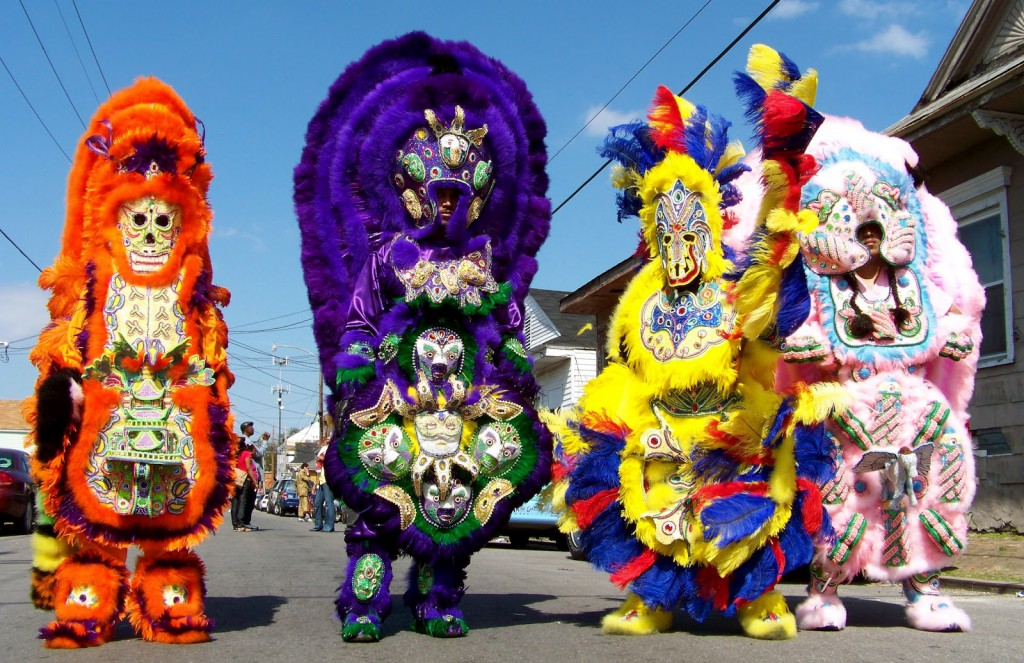 Mardi Gras Indians on a Sunny Day