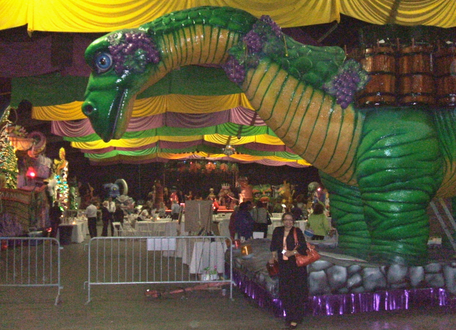 Baccasaurus float from Bacchus parade at Mardi Gras World