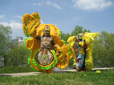Mohawk Mardi Gras Indians on Levee!
