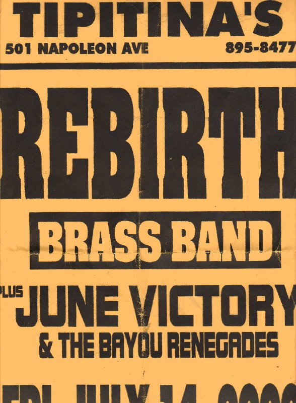 Tipitina's Rebirth & June Victory and Bayou Renegades Poster