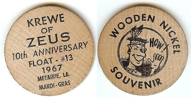 Zeus 1967 Wooden Nickel
